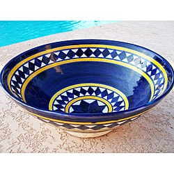 Nautical Diamond 10-inch Ceramic Bowl (Morocco)