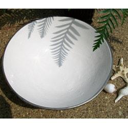 White 14-inch Silver Trimmed Ceramic Bowl (Morocco)