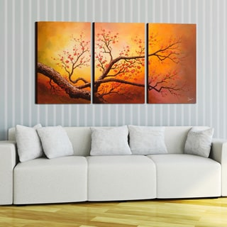 Hand-painted Oil on Gallery-wrapped Canvas Art (Set of 3)