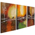 Hand-painted Oil 'Abstract' Canvas Art (Set of 3)