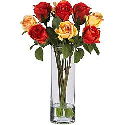 Roses and Glass Vase Silk Flower Arrangement