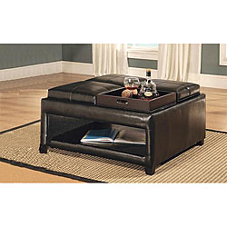 Bicast Leather Storage Ottoman with Trays