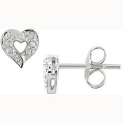 Miadora 14k White Gold Diamond Accent Heart Earrings
