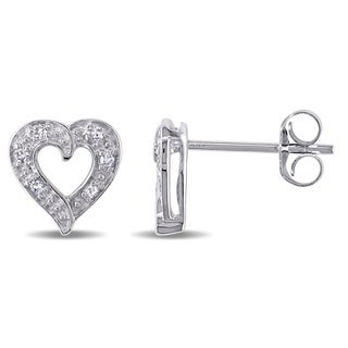 Haylee Jewels 14k White Gold Diamond Accent Heart Earrings