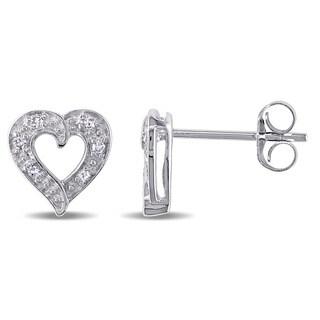 Miadora 14k White Gold Diamond Accent Heart Earrings