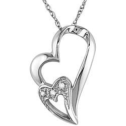 M by Miadora 10k White Gold Double Heart Diamond Necklace