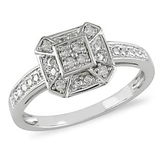 Miadora 10k White Gold 1/10ct TDW Diamond Ring (I-J, I2) with Bonus Earrings