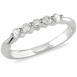 Miadora 10k White Gold 1/10ct TDW Diamond Ring (I-J. I2)