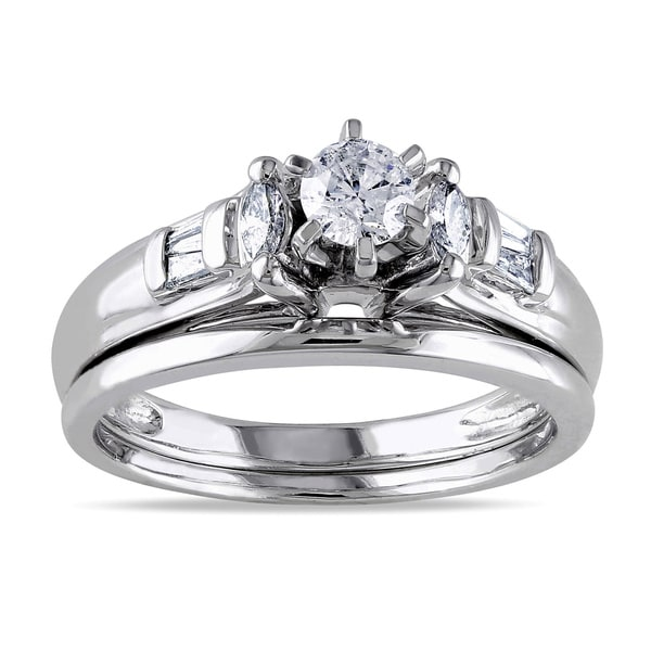 Miadora 14k White Gold 1/2ct TDW Diamond Bridal Set (H-I, I1)