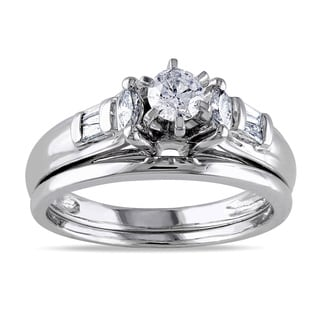 Miadora 14k White Gold 1/2ct TDW Diamond Bridal Set (H-I, I1)