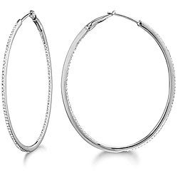 14k White Gold 5/8ct TDW Diamond 40mm Hoop Earrings (G-H, I1-I2)