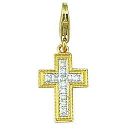 14k Yellow Gold Diamond Accent Cross Charm