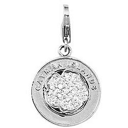 14k White Gold Diamond Accent Cayman Islands Charm