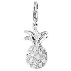 14k White Gold 1/10ct TDW Diamond Pineapple Charm
