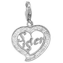 14k White Gold 1/10ct TDW Diamond Sister Charm (H-I, I2)