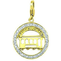 14k Yellow Gold 1/10ct TDW Diamond San Francisco Cable Car Charm (H-I/J, I2)
