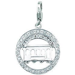 14k White Gold 1/10ct TDW Diamond San Francisco Cable Car Charm (H-I/J, I2)