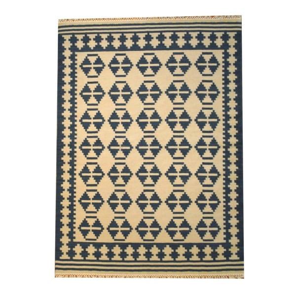 Herat Oriental Indo Hand-woven Kilim Ivory/ Navy Wool Rug (5'6 x 7'11)