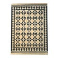 Indo Kilim Ivory/ Navy Rug (5&#39;6 x 7&#39;11)