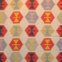 Indo Kilim Ivory/ Red Wool/ Cotton Rug (5'5 x 7'9)