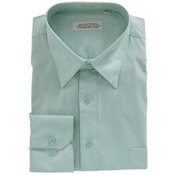 Boston Traveler Men's Point Collar Aqua Dress Shirt