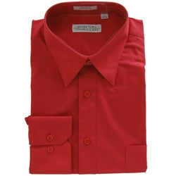 Boston Traveler Men's Point Collar Red Dress Shirt