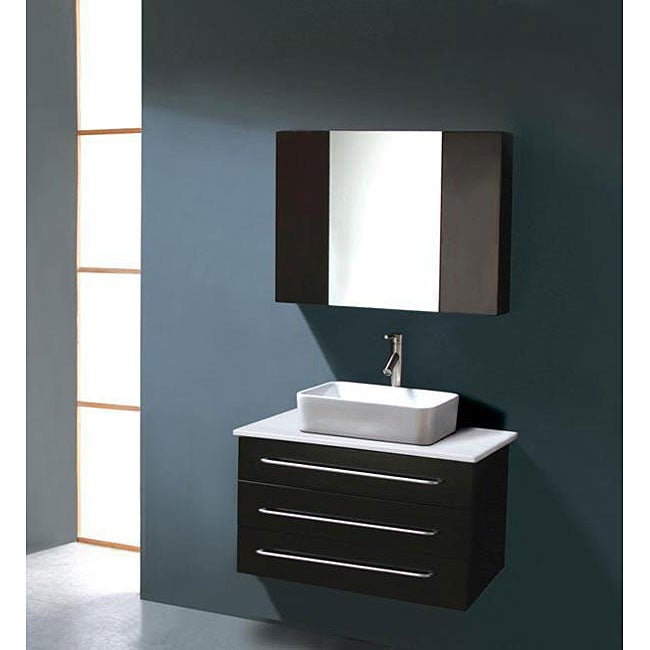 Vanities Malta 36inch Single Sink Wall Mounted Bathroom Vanity Set