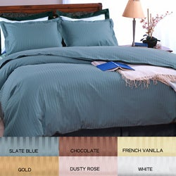 Damask Stripe 500 Thread Count 3-piece Duvet Cover Set
