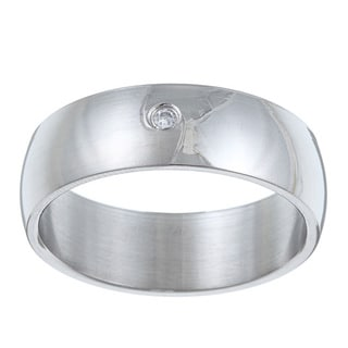 Stainless Steel Cubic Zirconia Swirl Ring