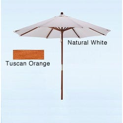 Hard Wood White/ Tuscan Orange Patio Umbrella