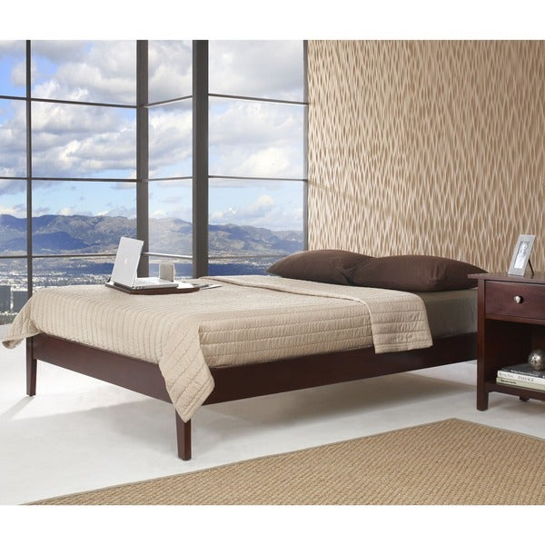 Solid-Wood Tapered-Leg Queen-Size Platform Bed