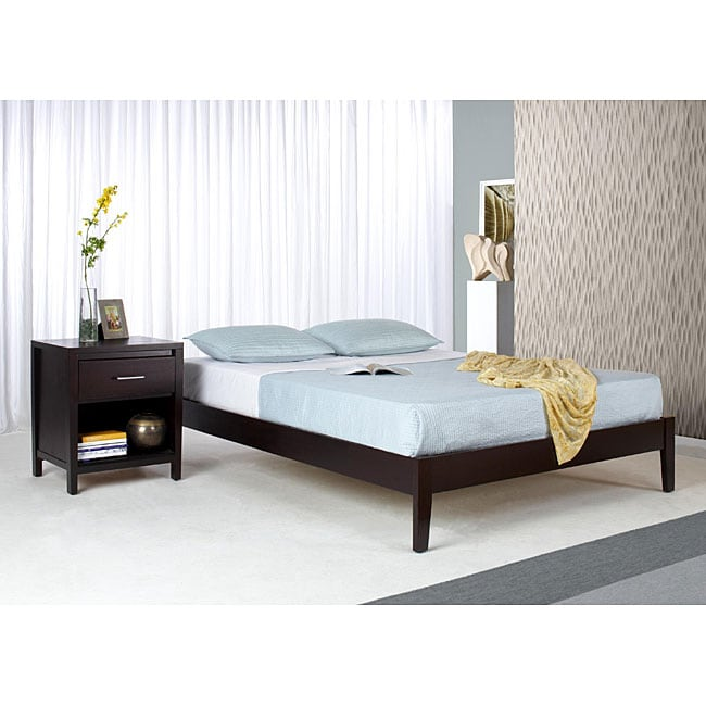 Solid Wood Tapered Leg Queen Size Platform Bed