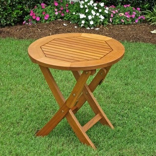 International Caravan Royal Tahiti Yellow Balau Wood Round 19- inch Folding Table