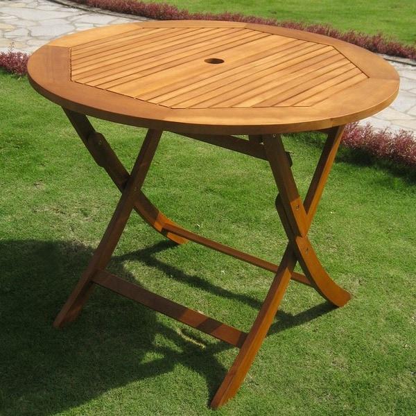 International Caravan Royal Tahiti Yellow Balau Wood 36-inch Folding Table