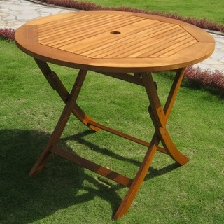 International Caravan Royal Tahiti Yellow Balau Wood 36-inch Folding Table