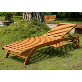 International Caravan Royal Tahiti Yellow Balau Wood Chaise Lounge with Wheels