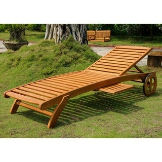 International Caravan Royal Tahiti Yellow Balau Wood Chaise Lounge with Wheels