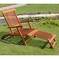 International Caravan Royal Tahiti Yellow Balau Wood Traditional Steamer Deck Lounger