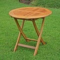 International Caravan Royal Tahiti Yellow Balau Wood 28-inch Round Folding Table