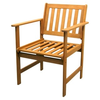 International Caravan Royal Tahiti Yellow Balau Wood Gulf Port Arm Chair (Set of 2)