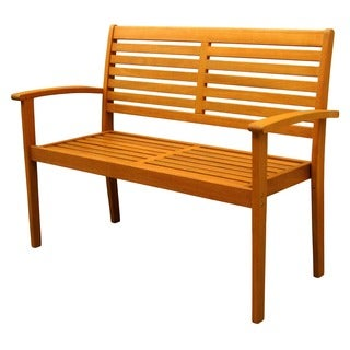 International Caravan Royal Tahiti Yellow Balau Wood Oslo Contemporary Bench