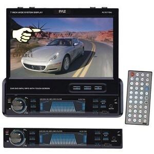 Pyle PLTS77DU Single-DIN DVD/CD/MP3 AM/FM USB Receiver w/ Detachable Face, Motorized Touchscreen & Remote Control