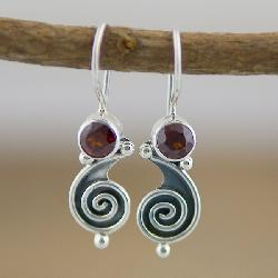 Sterling Silver Garnet Swirl Earrings (Indonesia)