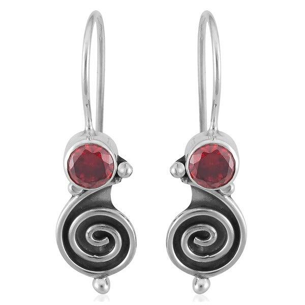 Sterling Silver Garnet Swirl Earrings (Indonesia)