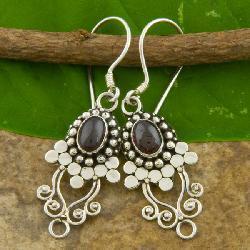 Sterling Silver Garnet 'Vine' Earrings (Indonesia)