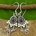 Sterling Silver Garnet 'Vine' Earrings (Indonesia)
