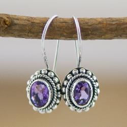 Sterling Silver Amethyst Oval Earrings (Indonesia)