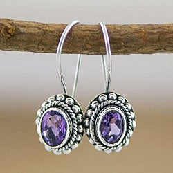 Sterling Silver Amethyst Oval Earrings (Indonesia)