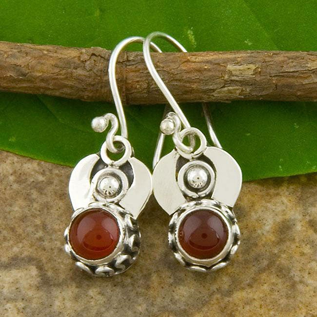 Silver Carnelian Agate Dangle Earrings (Indonesia)