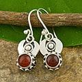 Silver Carnelian Agate Dangle Earrings (Indonesia)